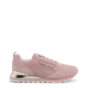 Versace Jeans Womens Pink & Gold Suede Sneakers